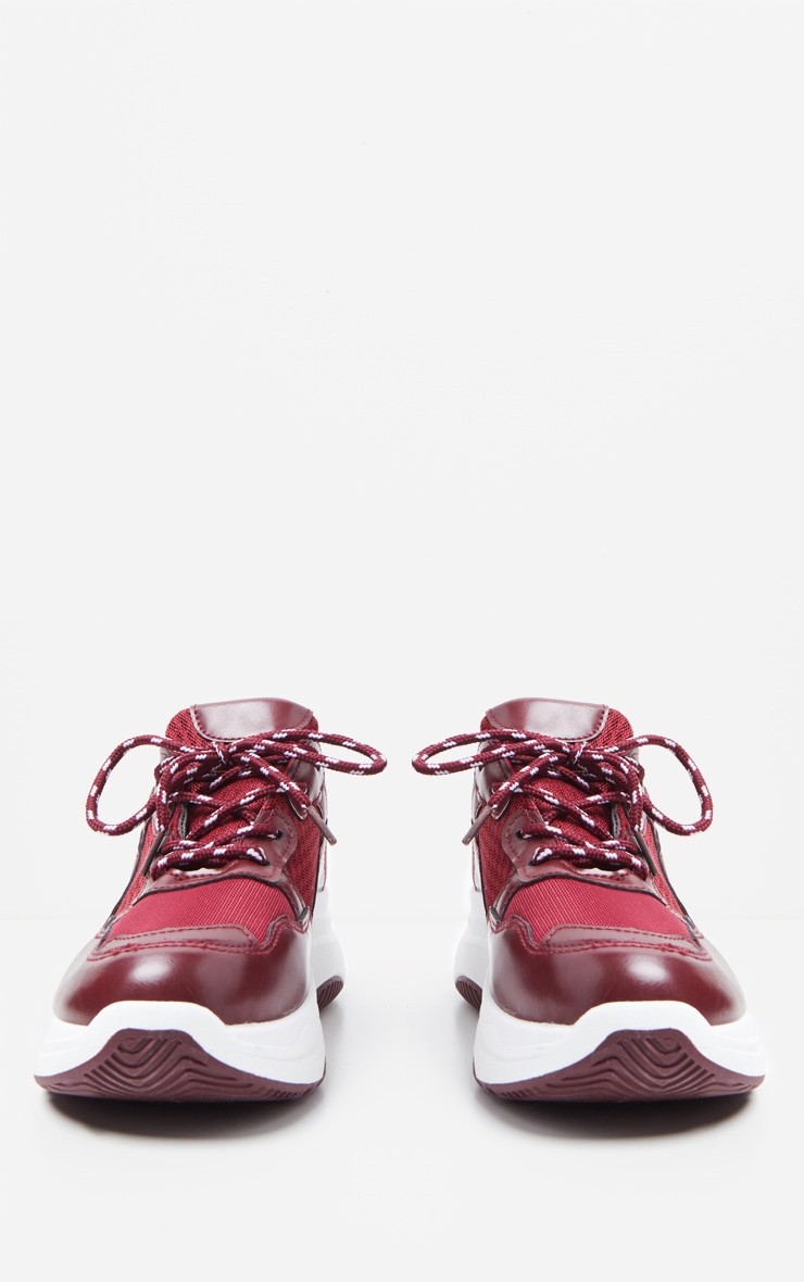Burgundy PU Panel Chunky Sneakers 4