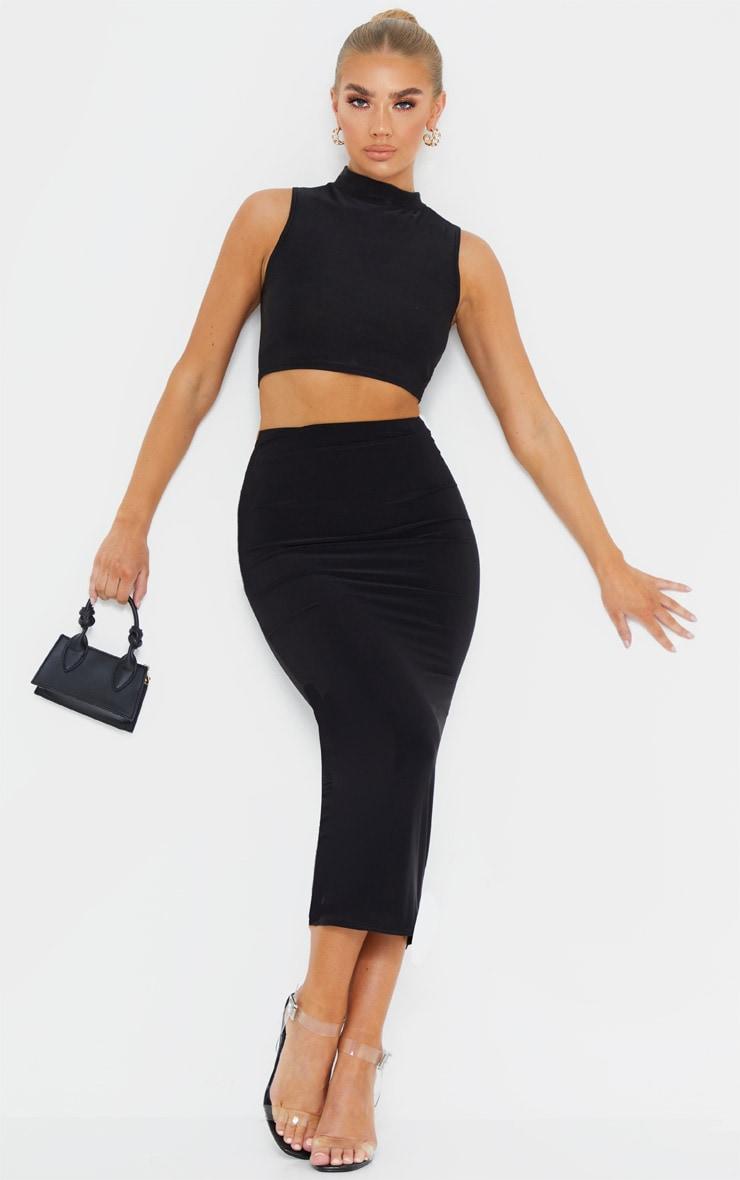 Black Second Skin Slinky Longline Midaxi Skirt  1