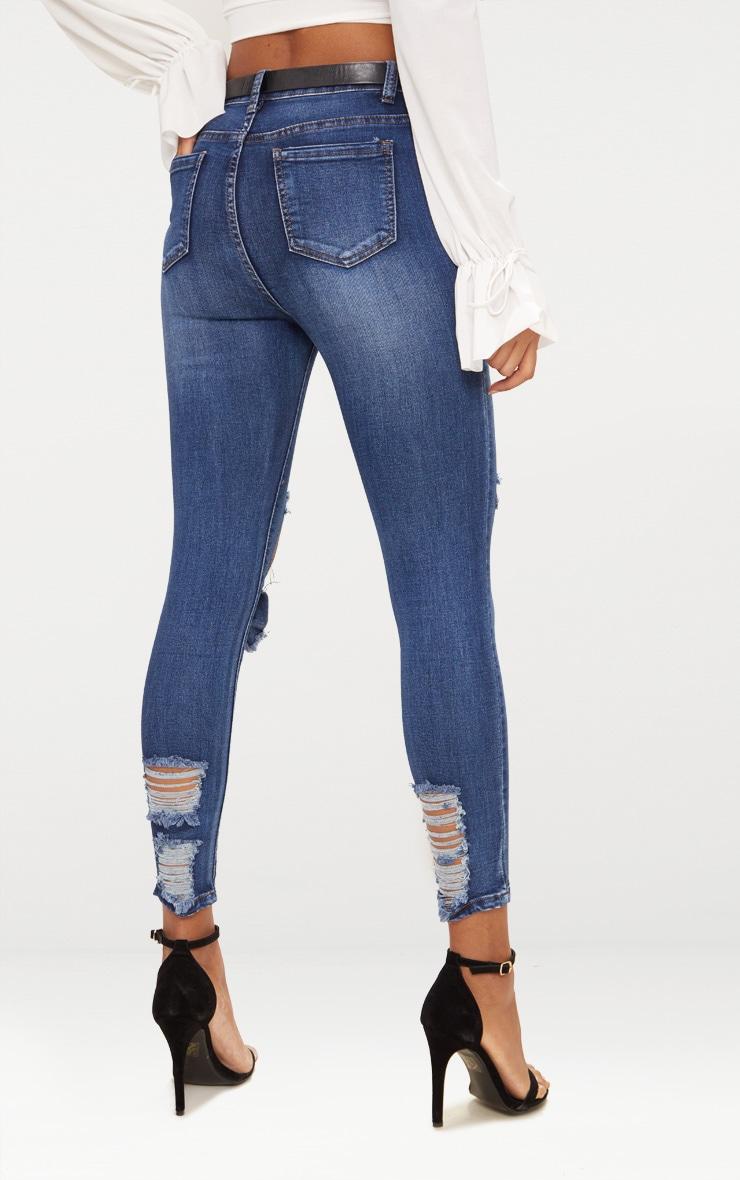 Mid Wash Folded Knee Rip 5 Pocket Skinny Jean 5