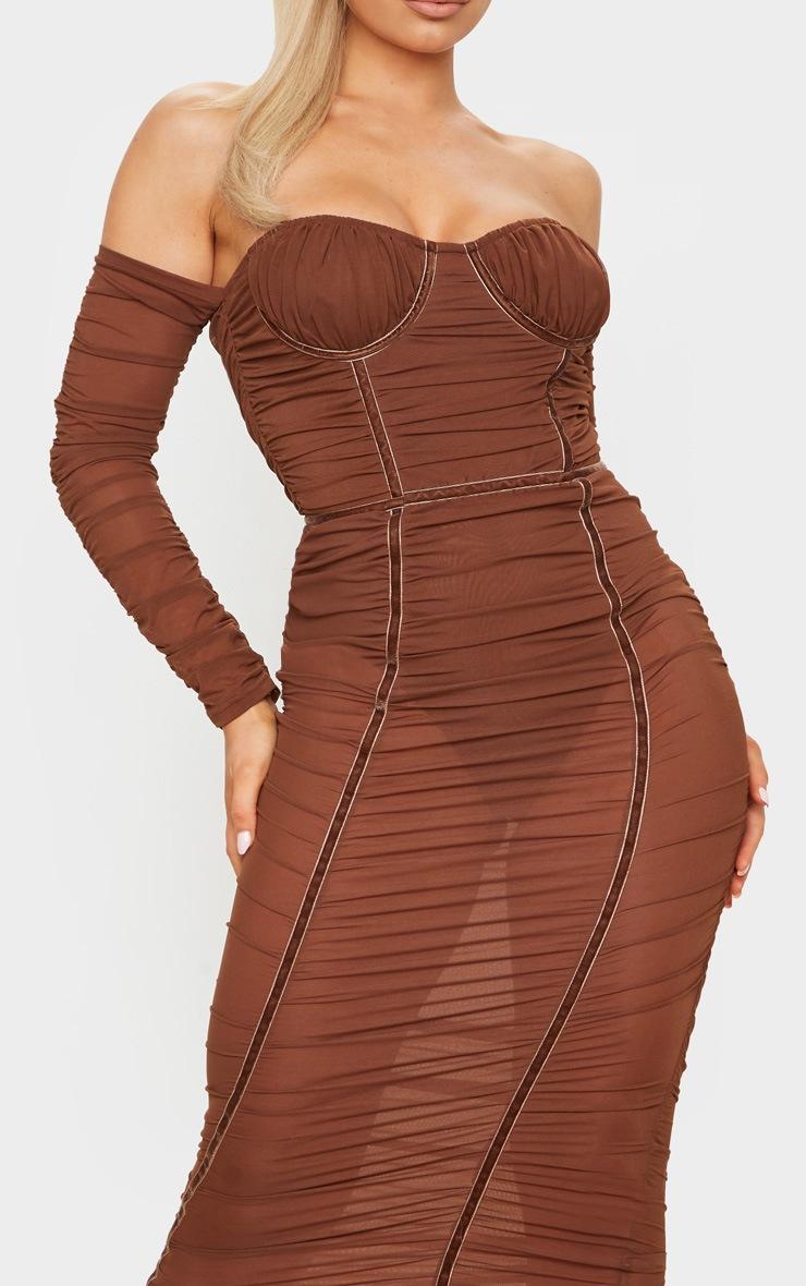 Chocolate Mesh Ruched Velvet Binded Bardot Midi Dress 4