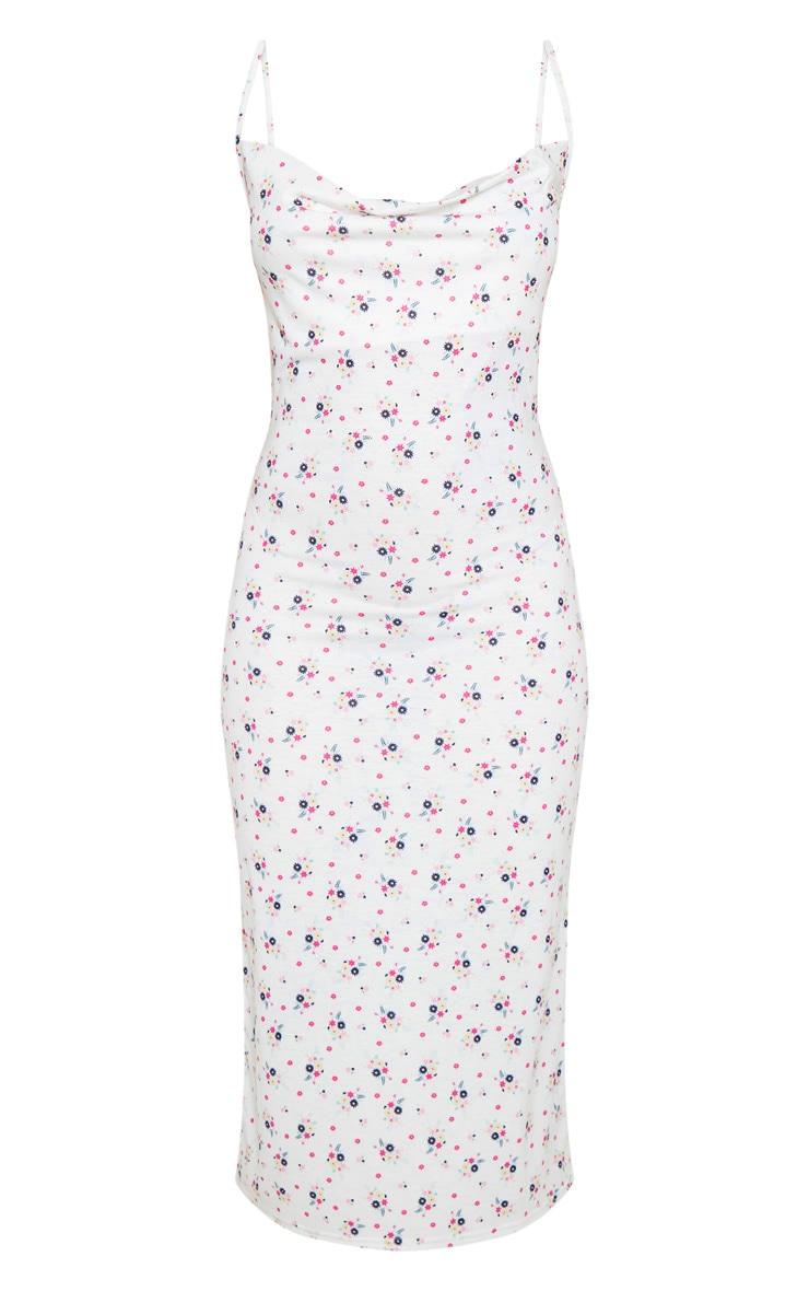White Ditsy Floral Cowl Midi Dress 3