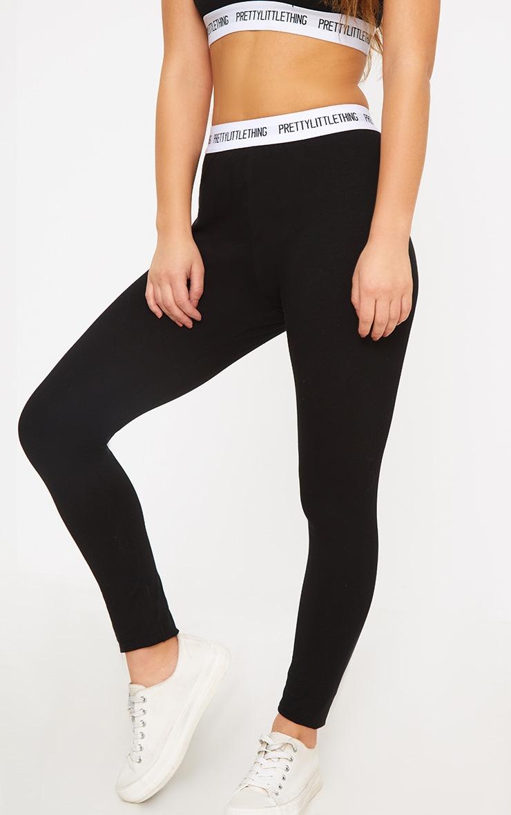 PRETTYLITTLETHING Petite Black Slogan Waistband Leggings 4