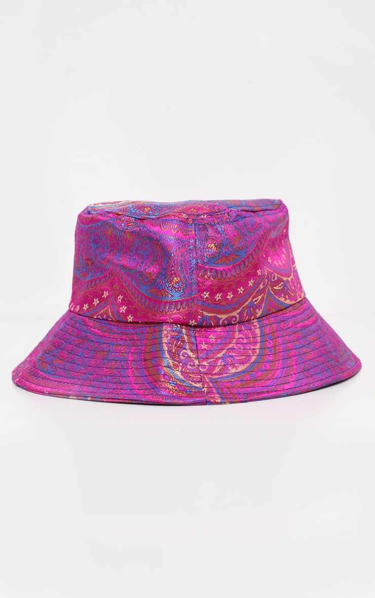 Pink Paisley Print Bucket Hat 2