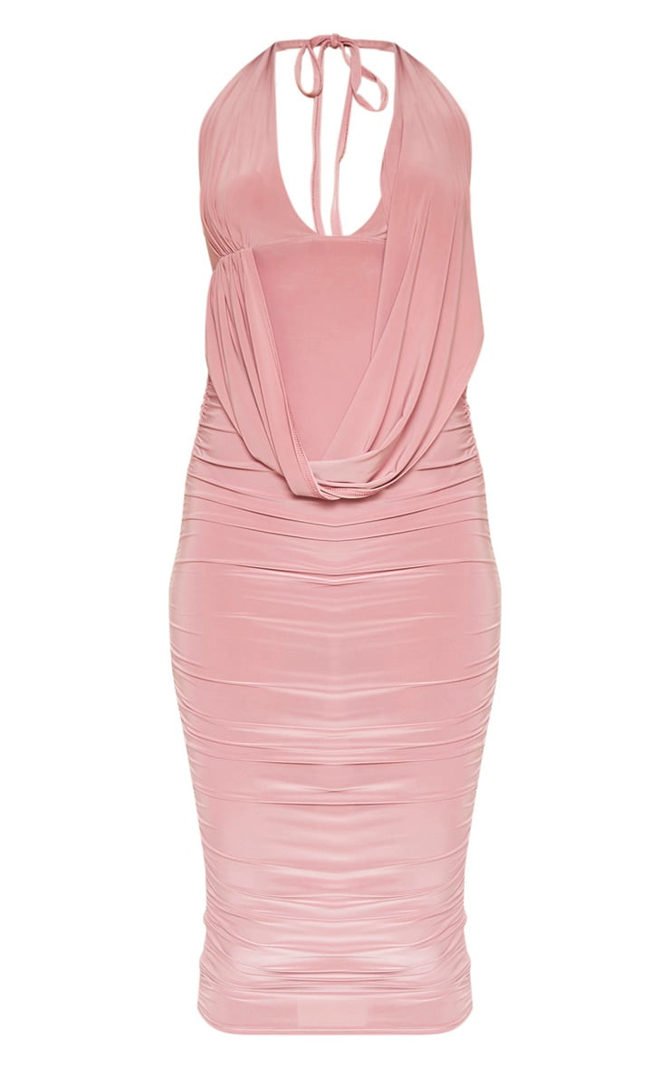 Rose Slinky Halterneck Ruched Drape Midi Dress   3