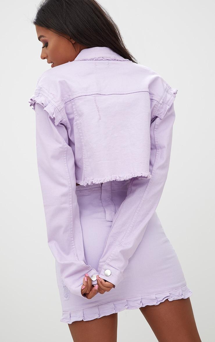 Lilac Ruffle Cropped Denim Jacket 2