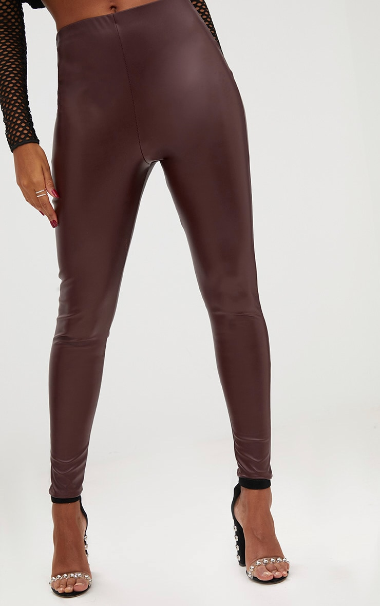 Burgundy Faux Leather Skinny Trousers 5