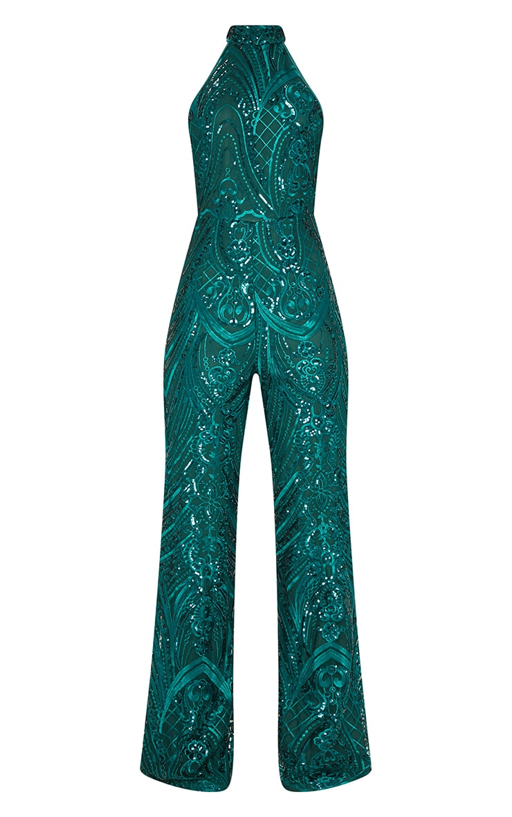 Green Sequin High Neck Jumpsuit 3
