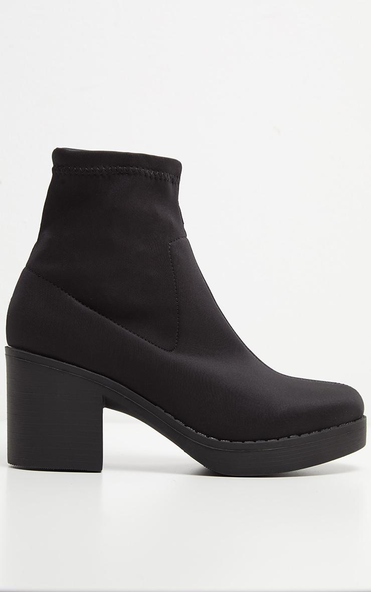 Bottes chaussettes plateformes noires en lycra 4