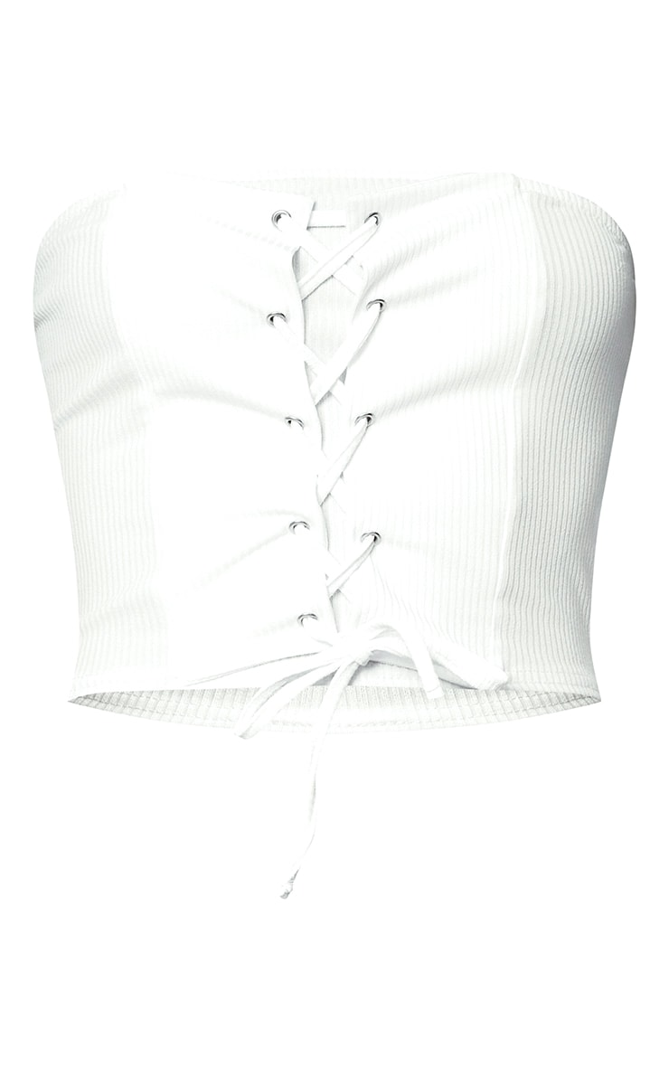 White Corset Lace Up Bandeau Top 3