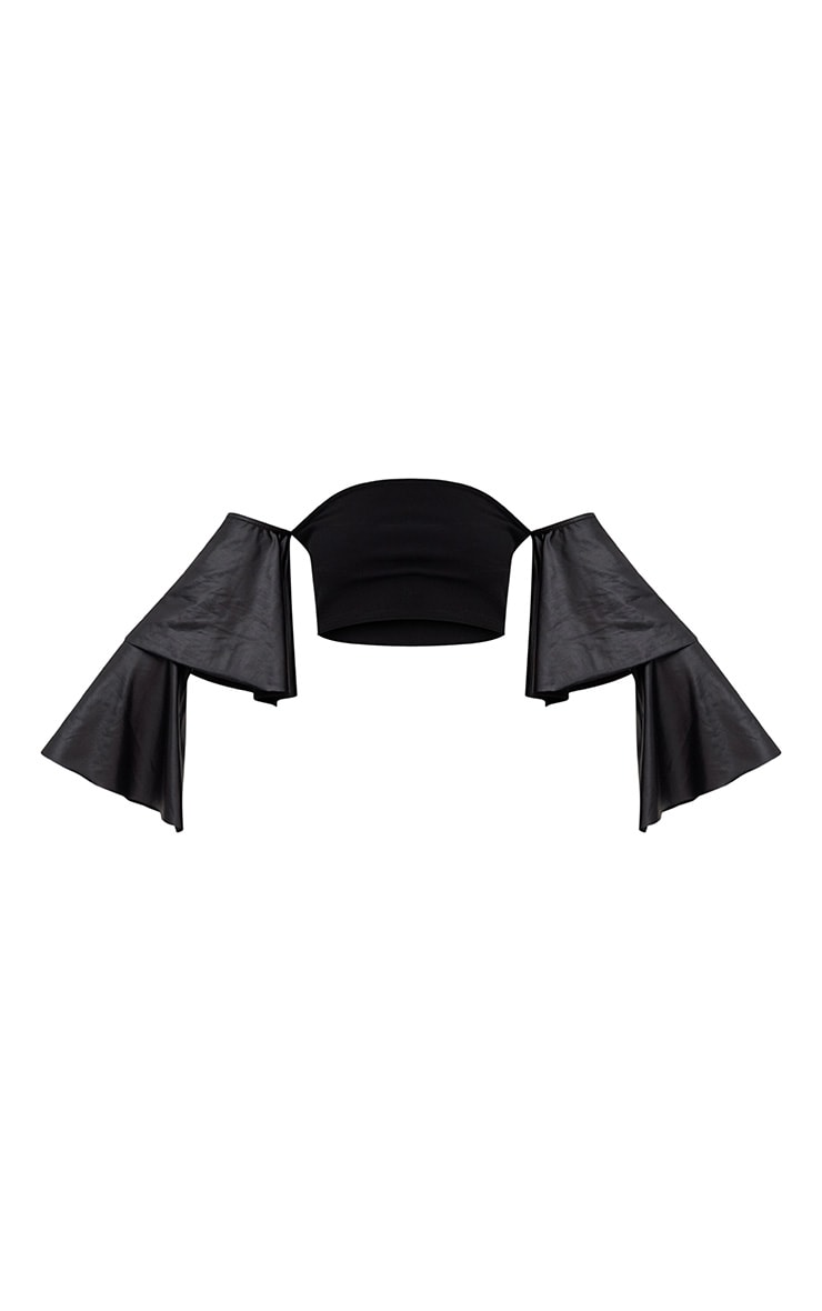Black Bandeau PU Layered Frill Sleeve Crop Top 3