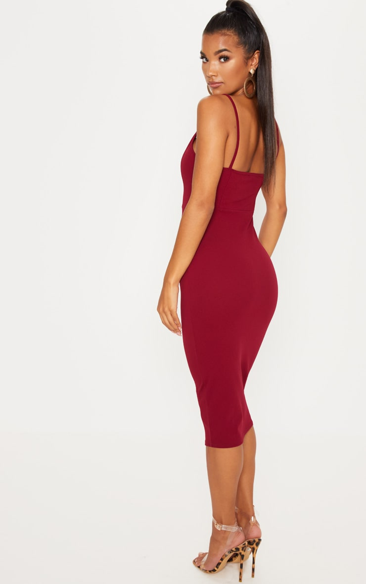 Berry Strappy Plunge Midaxi Dress 2