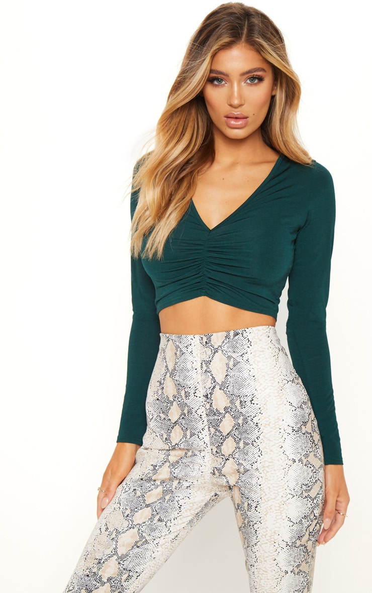 Emerald Slinky Ruched Crop Top
