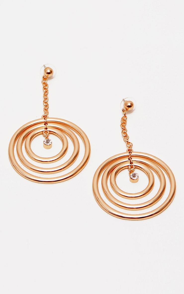 Gold Diamante Circle Drop Earrings 2