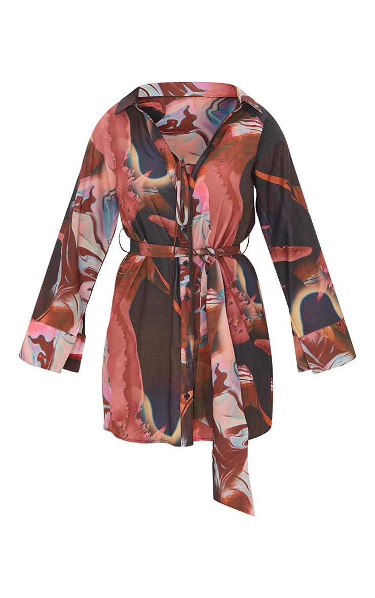 Pink Abstract Print Woven Tie Waist Wide Sleeve Shirt Dress 5