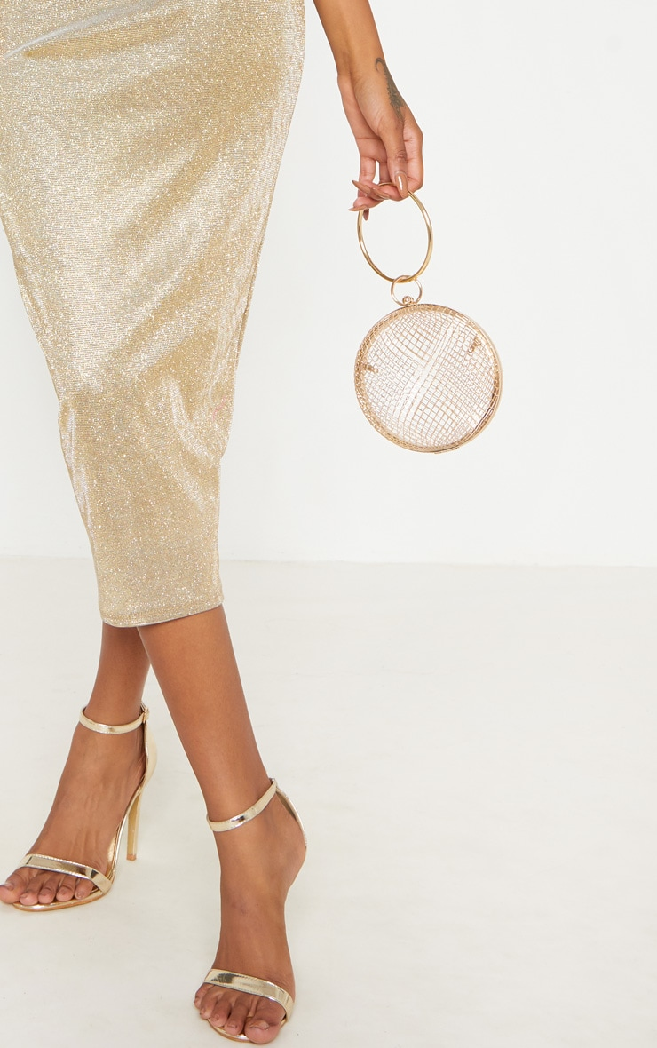 Gold Strappy Glitter Midaxi Dress 5