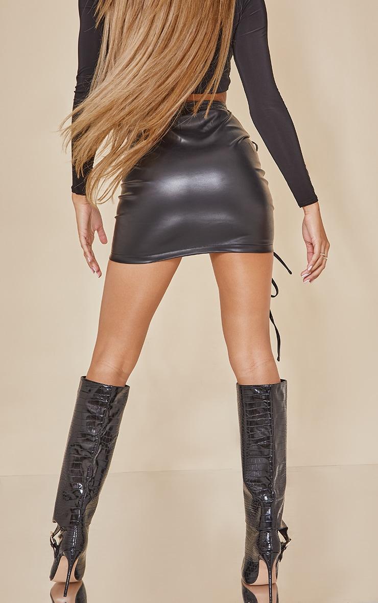 Black Faux Leather Ruched Asymmetric Tie Waist Mini Skirt 3