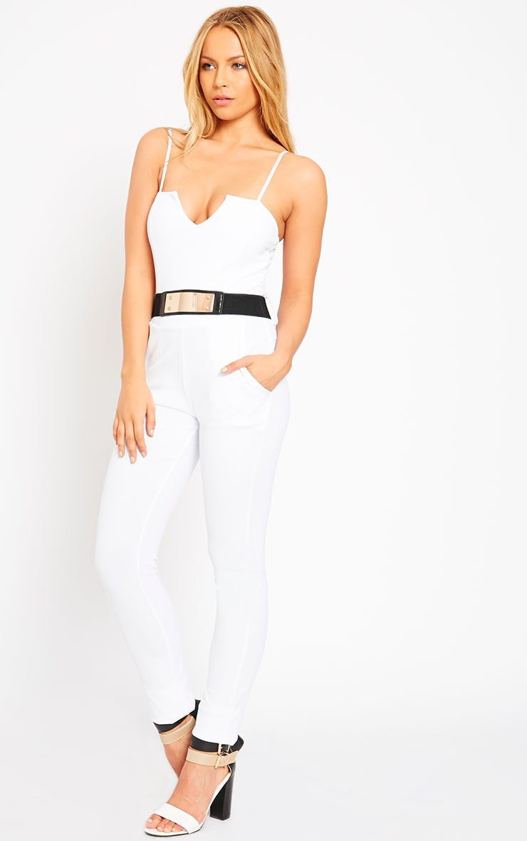 Leoni White Belted Jumpsuit 4