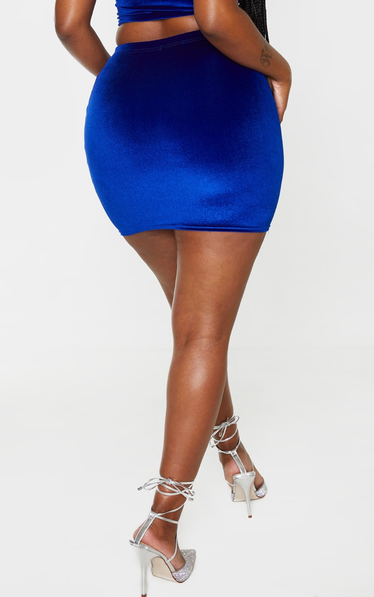 Shape Cobalt Velvet High Waist Bodycon Skirt 3