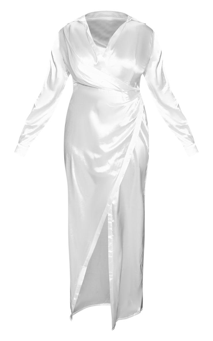 Plus White Satin Drape Extreme Split Maxi Shirt Dress  3