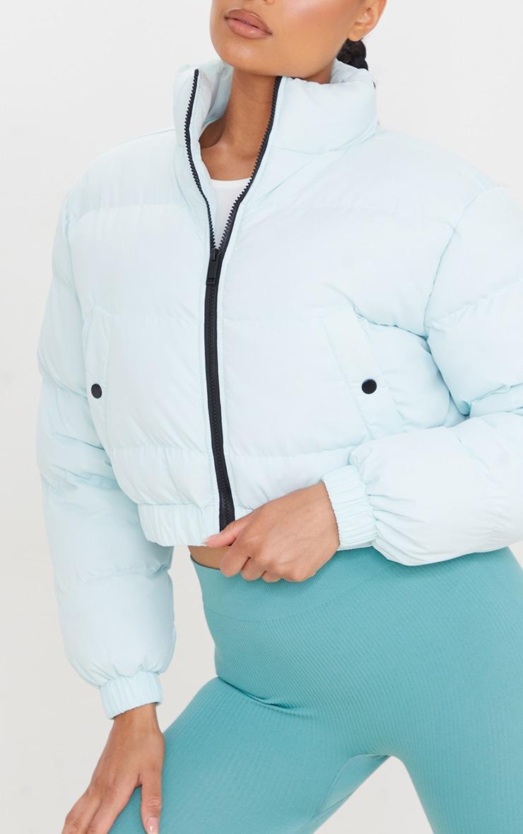 Mint Cropped Elastic Hem Bubble Puffer Jacket 4