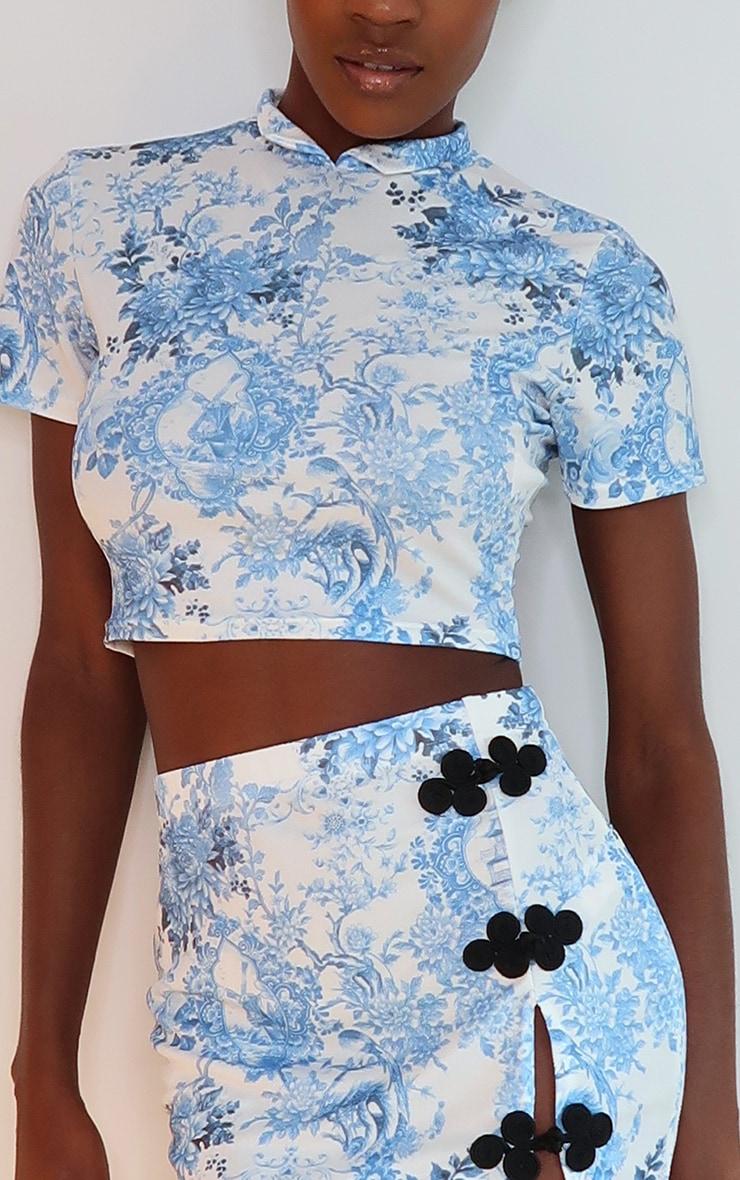 Blue Oriental Print High Neck Short Sleeve Crop Top 4