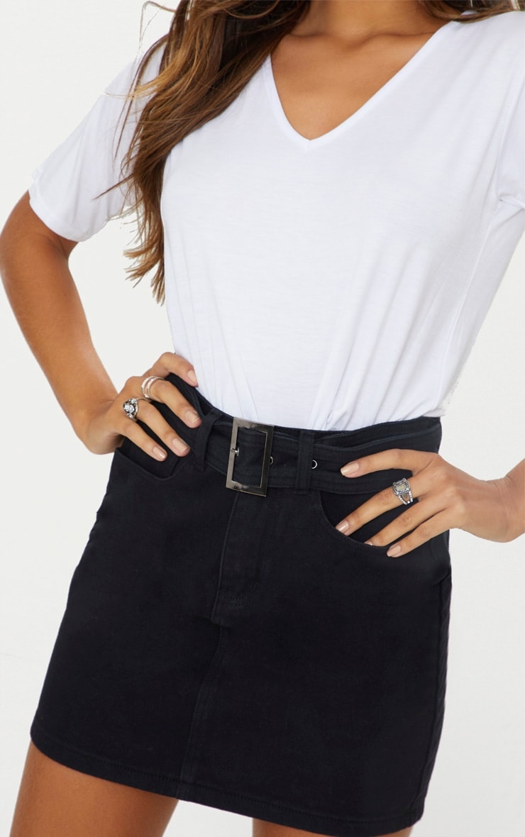 Black Buckle Detail Denim Mini Skirt 6