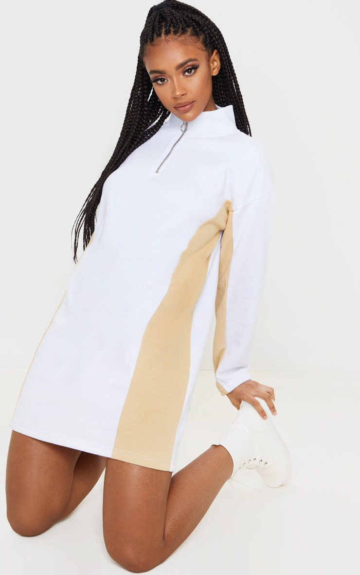 White Color Block Long Sleeve Zip Neck Sweater Dress 4