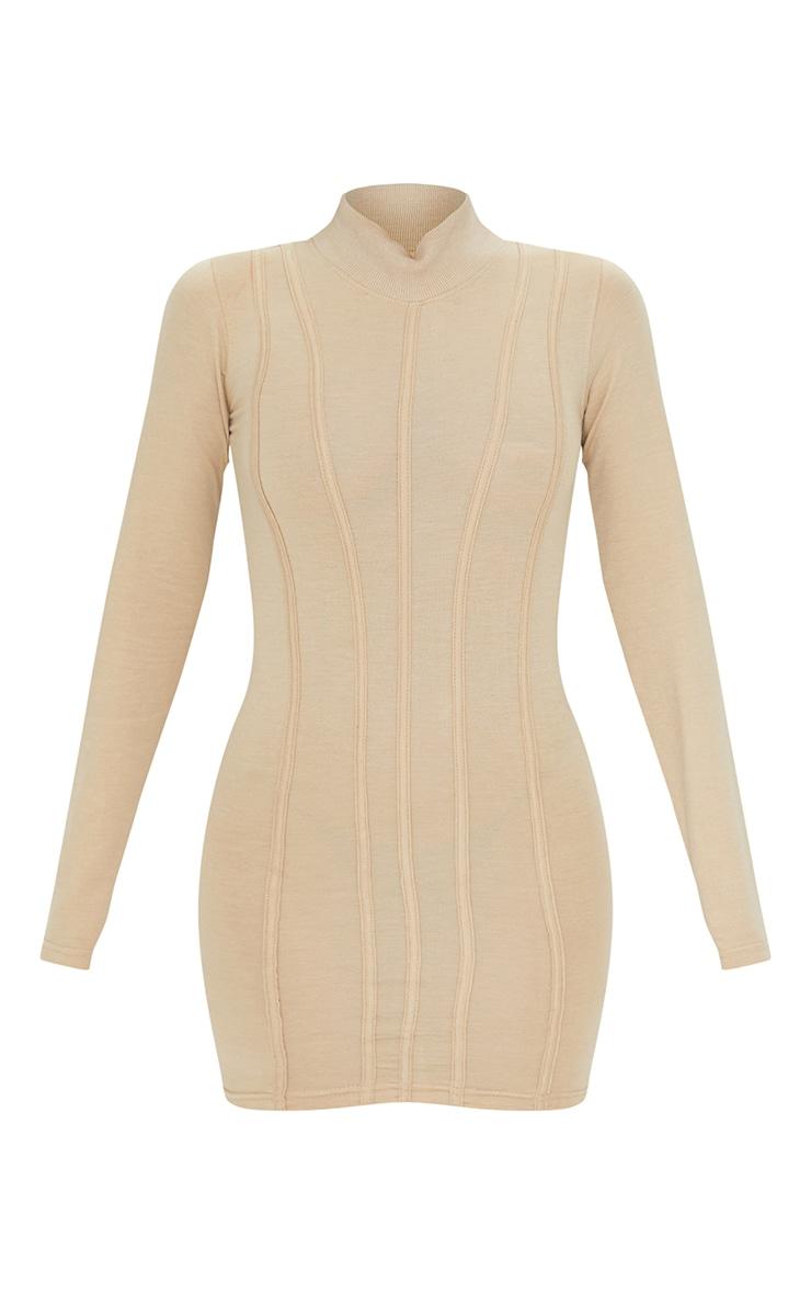 Stone High Neck Binding Detail Bodycon Dress 5
