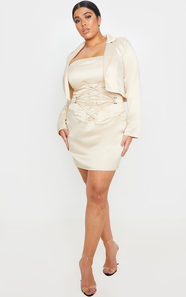 Plus Champagne Cropped Satin Blazer 1