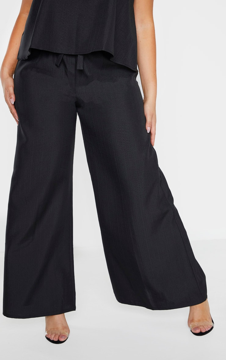 Plus Black Woven Wide Leg Tie Waist Pants 2