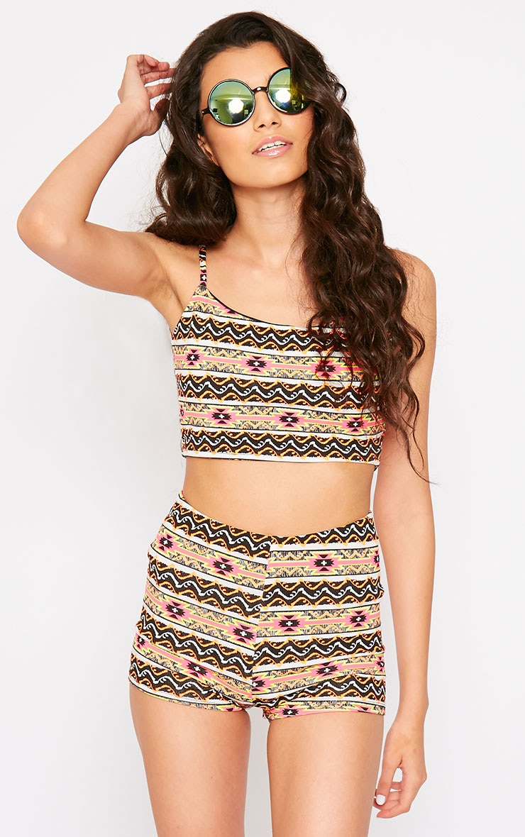 Aries Aztec Print Strappy Crop Top 1
