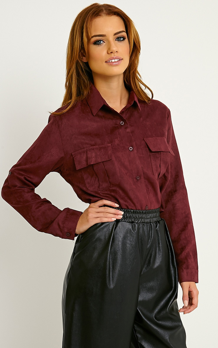 Blithe Oxblood Faux Suede Oversized Shirt 4
