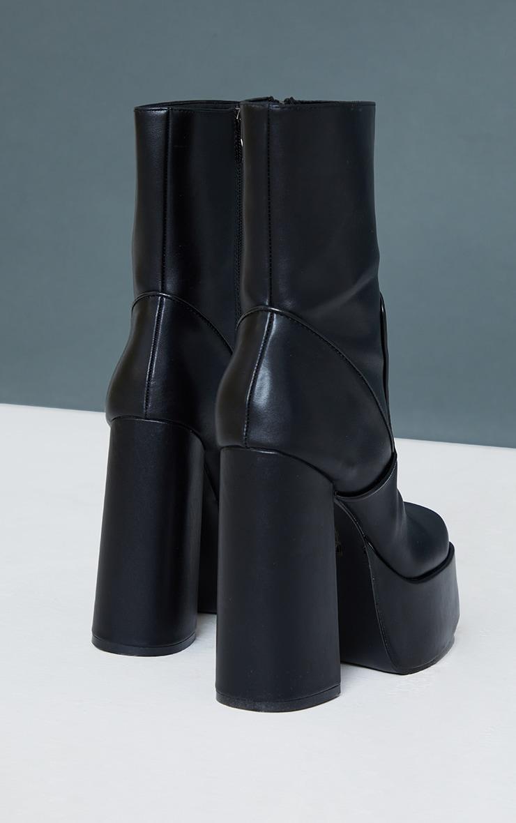 Black PU Curved Platform Heeled Boots 4