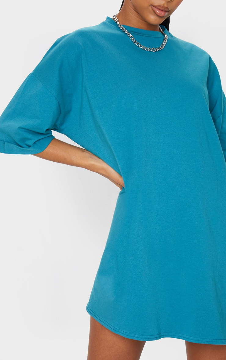 Teal Oversized Boyfriend T Shirt Dress 4