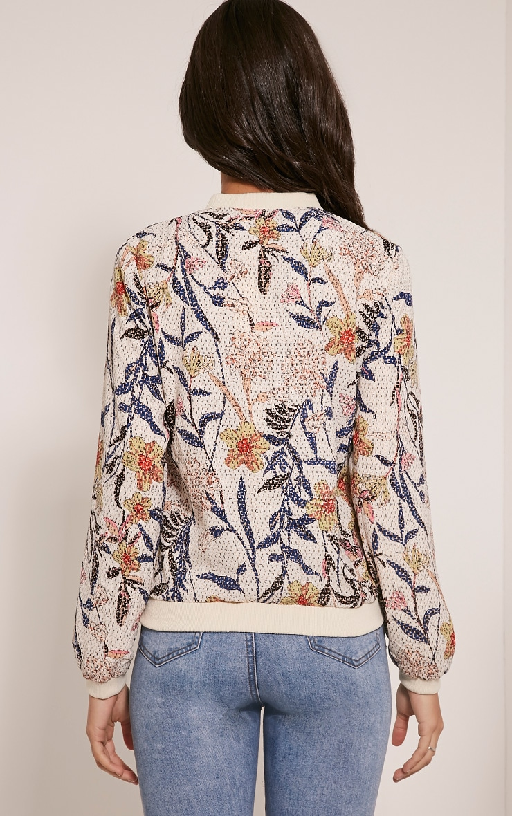Danyelle Beige Floral Abstract Printed Bomber Jacket 2