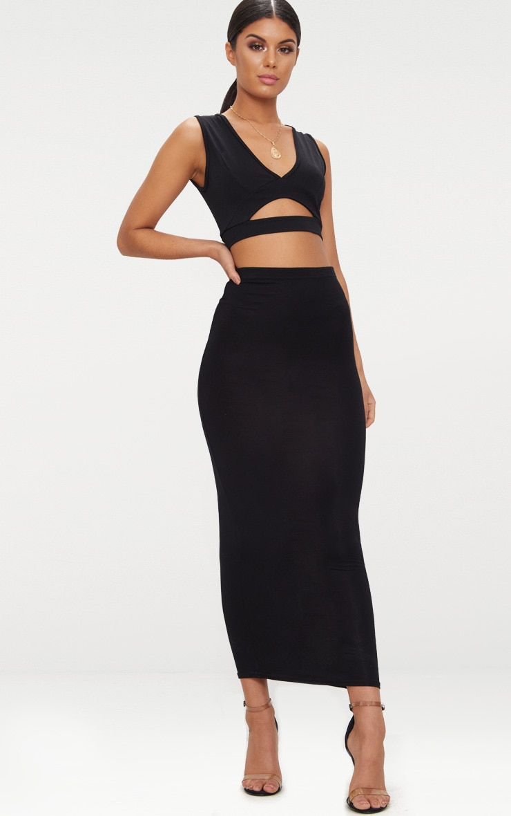 Black Slinky Cut Out Plunge Crop Top  4