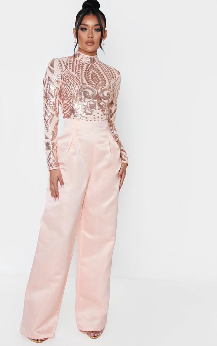 Rose Gold Sequin Bodice Long Sleeve Satin Jumpsuit 1