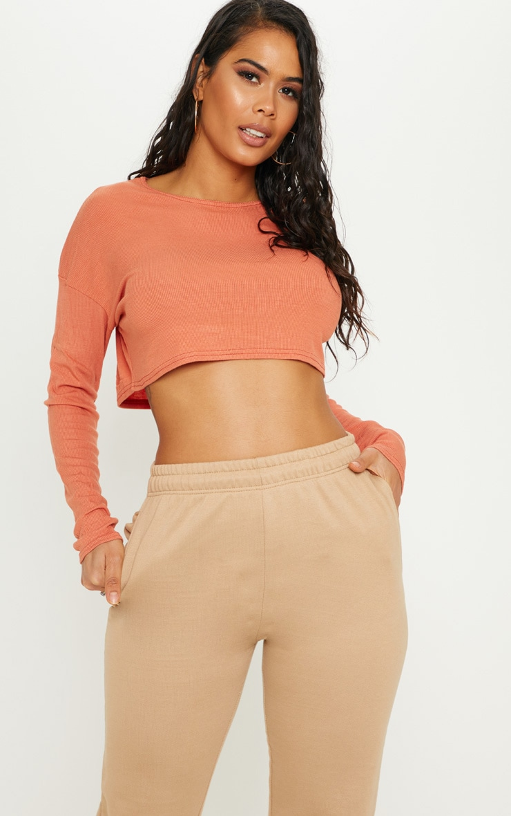 Burnt Orange Long Sleeve Rib Crop Top