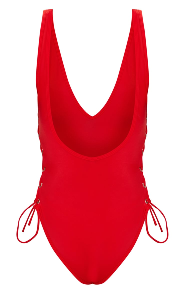 Red Tie Side Plunge Swimsuit  4