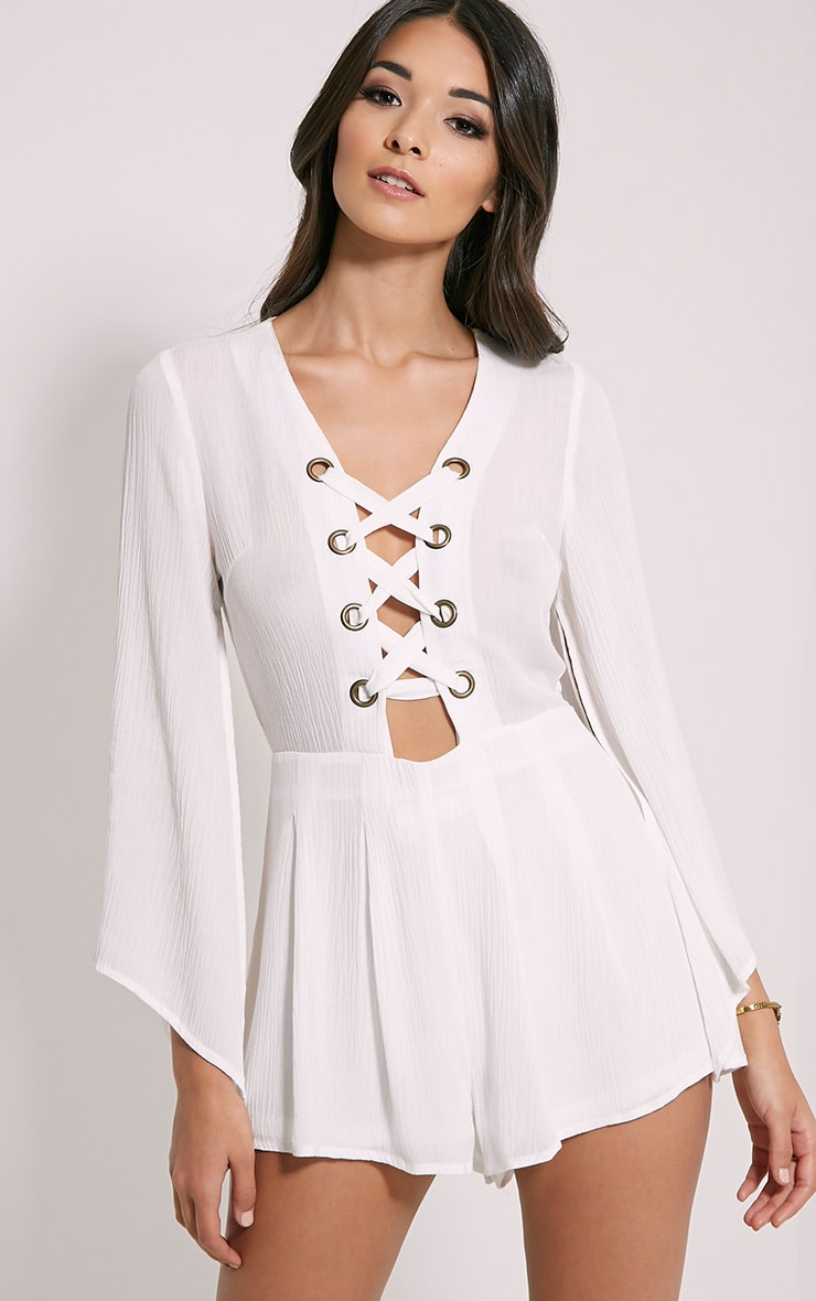 Clemence White Lace Up Detail Bell Sleeve Playsuit 4