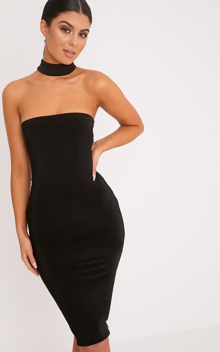 Ilana Black Slinky Choker Neck Midi Dress 1