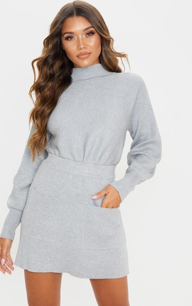 Grey Rib Knitted Skirt Set 1