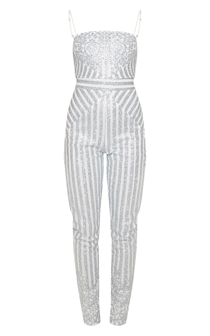 Silver Glitter Striped Strappy Jumpsuit 3