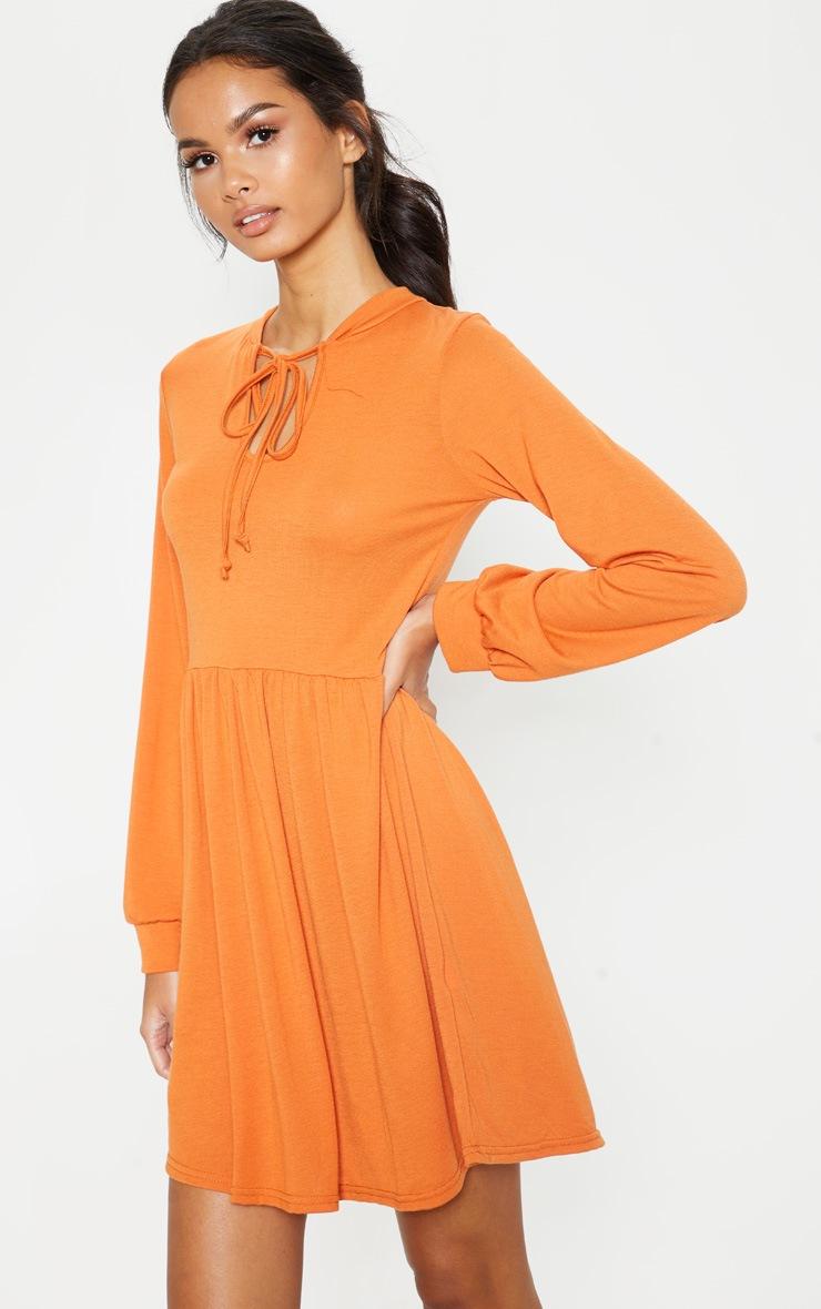 Burnt Orange Tie Neck Jersey Tea Dress 4