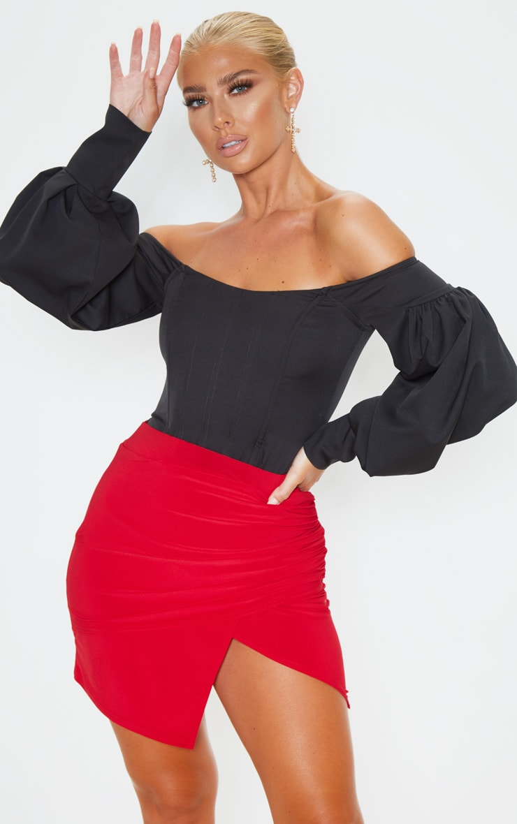 Scarlet Drape Detail Split Mini Skirt  1
