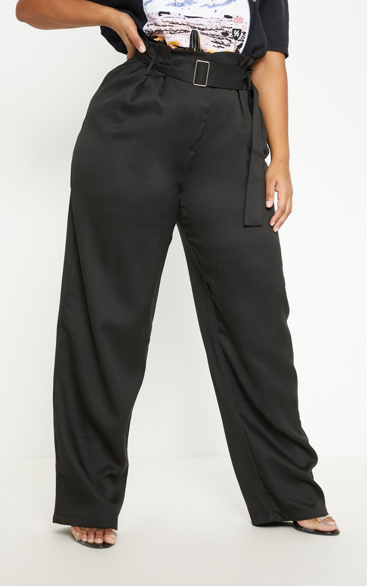 Plus Black Paper Bag Pleated Wide Leg Pants 2