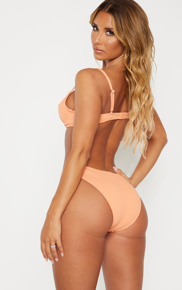 Peach Underwired Crinkle Bikini Top 2