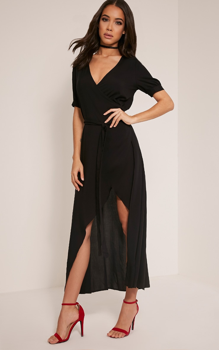 Renesmee Black Wrap Maxi Shirt Dress 1