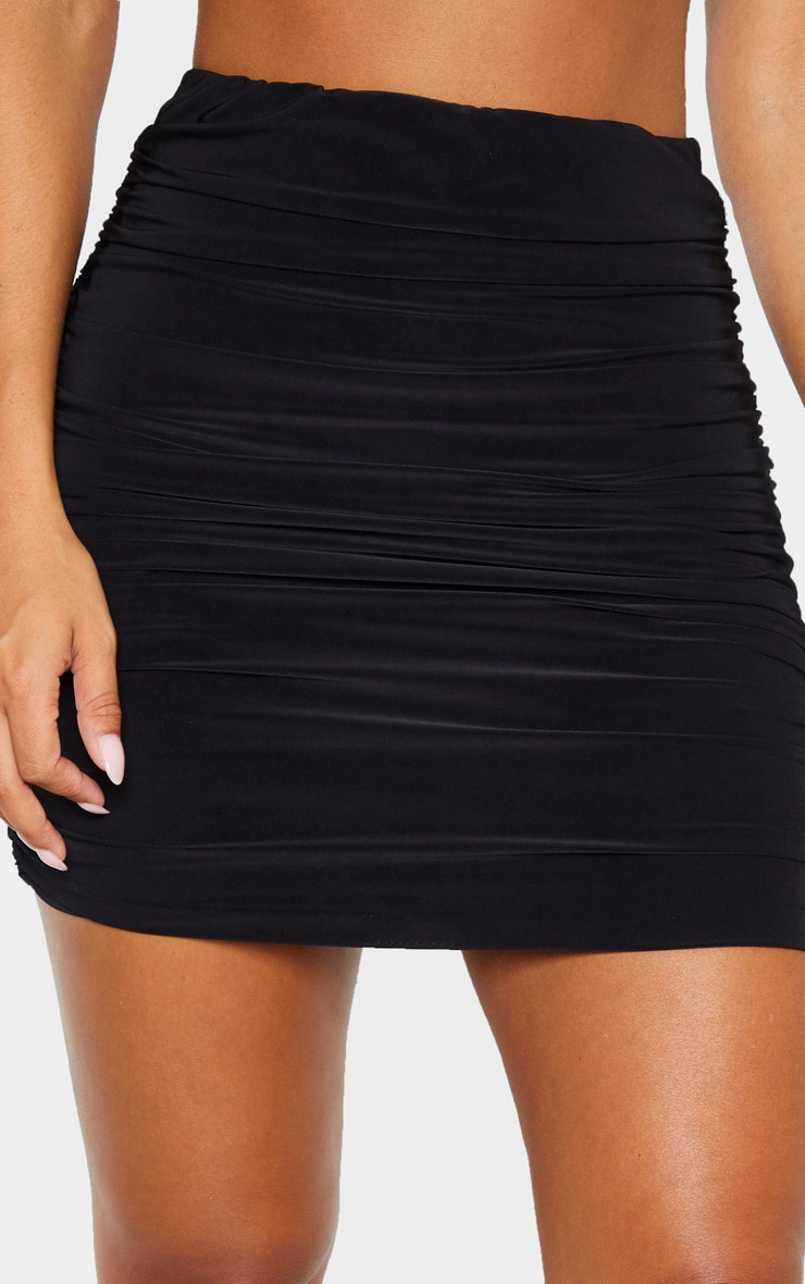 Black Slinky Ruched Mini Skirt 5