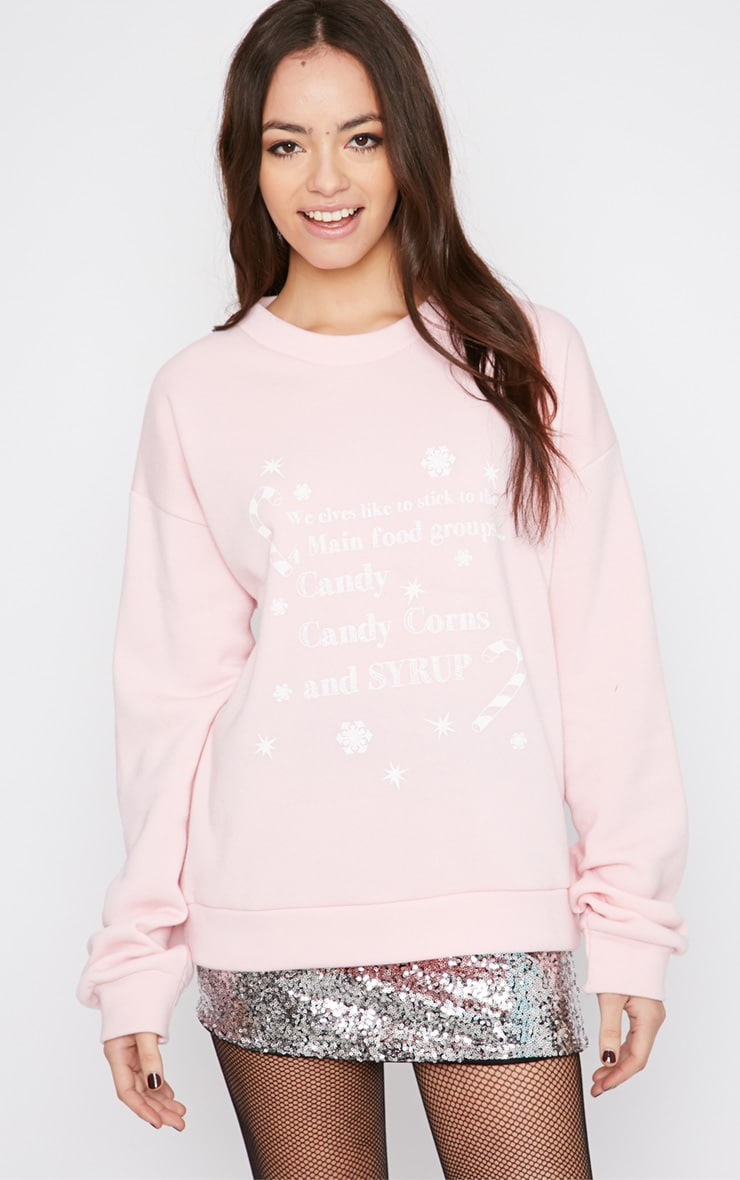 Mendia Baby Pink Candy Slogan Christmas Sweater 4